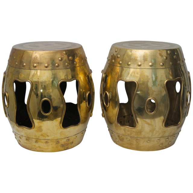 Chinese Mid-Century Brass Garden Stools - a Pair For Sale