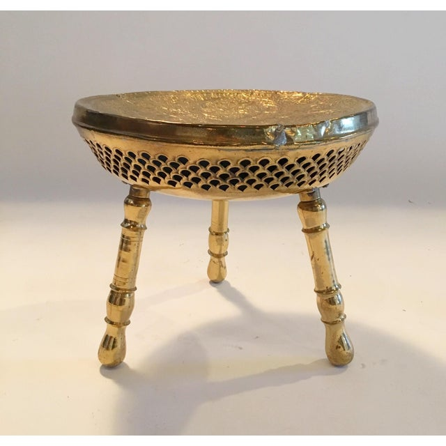 Vintage Brass Moroccan Stool - Image 2 of 5