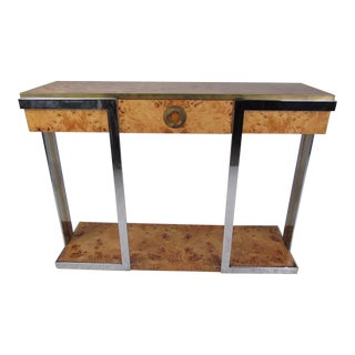 Willy Rizzo Burlwood Console Table by Mario Sabot For Sale