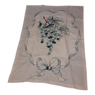 1980s Shabby Chic Green Grape Hand Embroidered Gorgeous Linen Towel For Sale