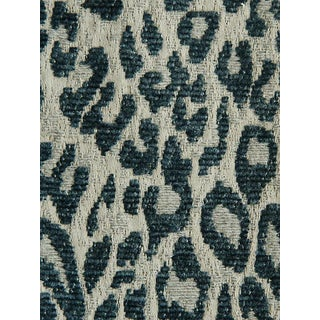 Sample, Scalamandre Leopard Orion Blue Fabric For Sale