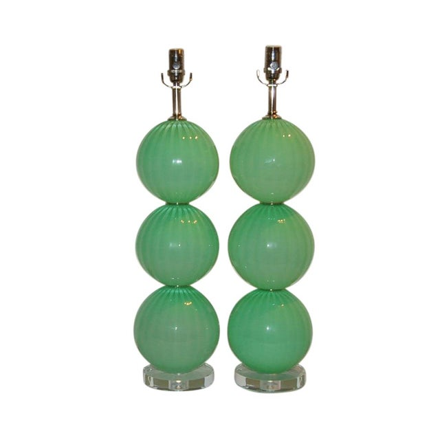 Joe Cariati Green Hand Blown Lamps For Sale - Image 11 of 11