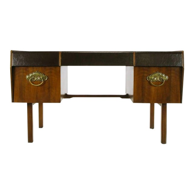 Mid-Century Modern Desk by Bert England for Widdicomb in Leather, Walnut and Bronze For Sale