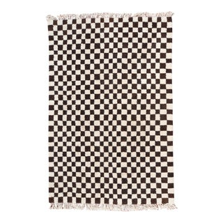 Dark Brown & White Checkered Moroccan Wool Area Rug - 5x7 For Sale