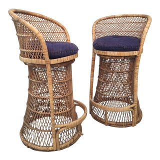 Vintage Wicker Bar Stools - A Pair For Sale