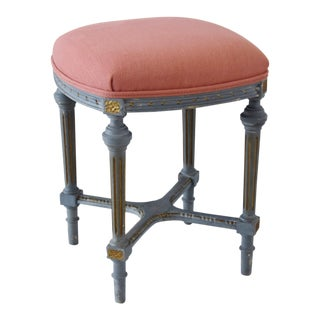 Antique French-Style Rose Linen Upholstered Painted Bench/Stool For Sale