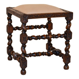 19th Century English Turned Upholstered Stool For Sale
