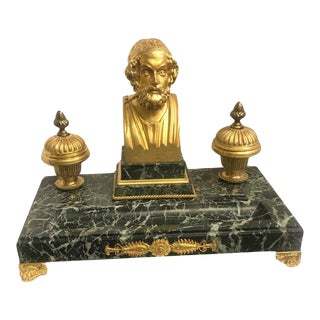 Antique French 19th Century Gilt Bronze and Marble Double Inkwell Ink Stand For Sale