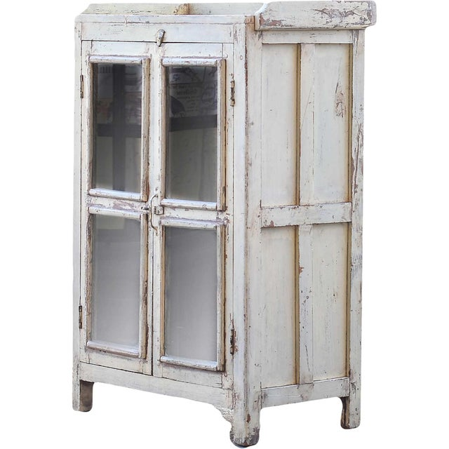 Navajo White Wooden Cabinet With Mesh Panels - Image 3 of 5