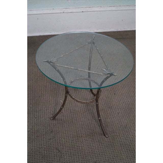 Brass & Glass Faux Bamboo Round Small Side Table - Image 2 of 10