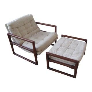 Milo Baughman Cube Chair & Ottoman - A Pair For Sale