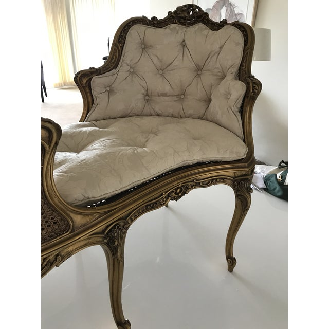 Early 20th Century Antique French Caned Tufted Tete' Te Settee For Sale - Image 9 of 13