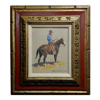 "1968 ""Cowboy on Horse"" Western Oil Painting by Nicholas Samuel Firfires For Sale"