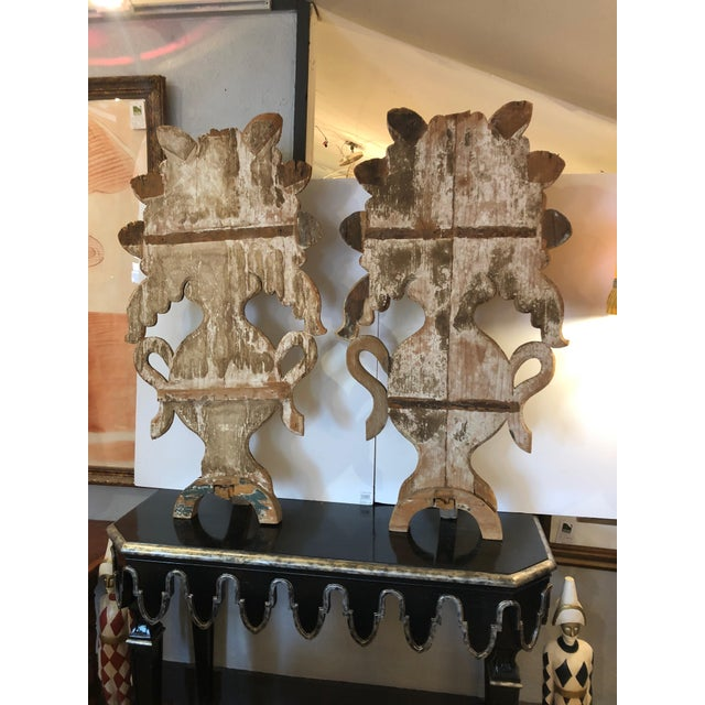 Mid 19th Century Antique Carved Painted Gilded Fireplace Screens Sculptures - A Pair For Sale - Image 9 of 13