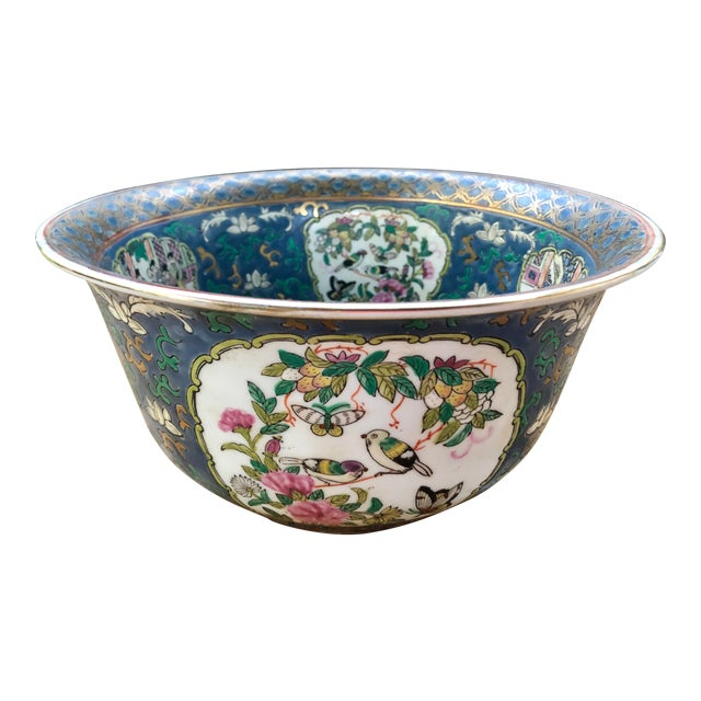 20th Century Chinese Hand Painted and Gilt Rose Medallion Bowl in Blue For Sale