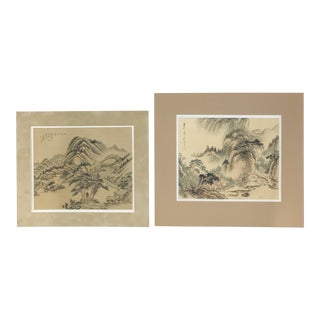 Early 20th Century Asian Mountain Landscape Paintings on Silk - a Pair For Sale