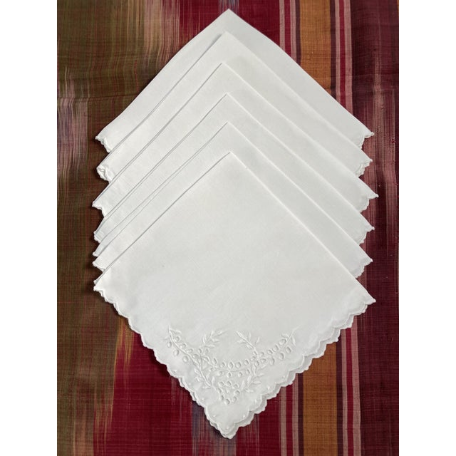 Traditional Vintage White Linen Embroidered Napkins- Set of 6 For Sale - Image 3 of 3