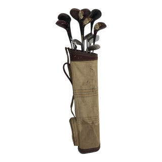 Vintage Weathered American Golf Clubs With Bag - Great for Wall Decor For Sale