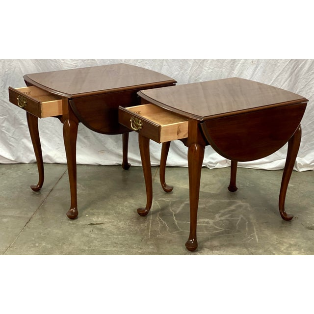 Late 20th Century Vintage Drexel Solid Cherry Pembroke Drop Leaf Side Tables For Sale - Image 5 of 13