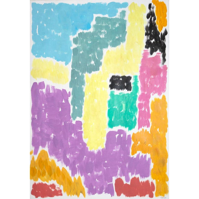 Leaving the City Diptych Abstract Shapes Cityscape Painting by Natalia Roman For Sale - Image 4 of 12
