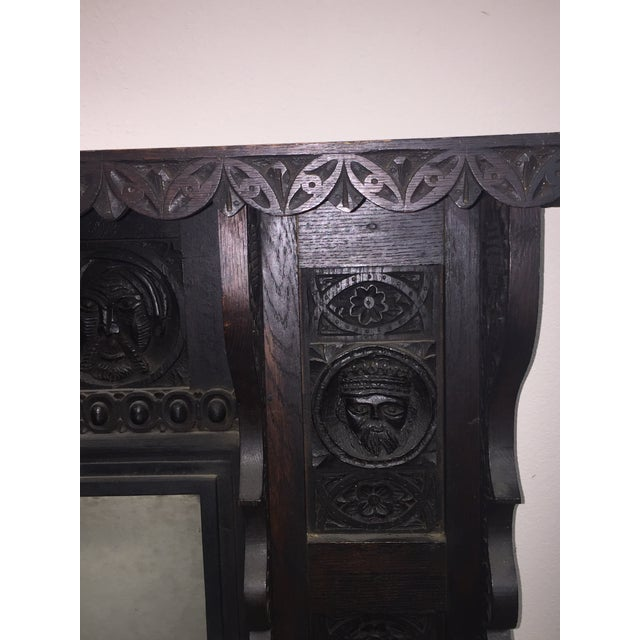 English Antique Black Wood Fireplace Mantel For Sale - Image 3 of 5