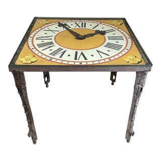 Vintage Glass Top Iron Clock Motif Table For Sale