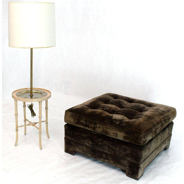 Textile Large Square Deep Bronze Velvet Upholstery Tufted Upholstery Ottoman Footstool For Sale - Image 7 of 11