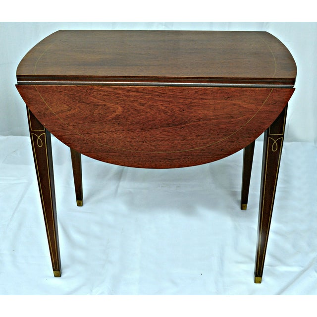 Traditional Hickory Chair Co. Oval Wood Side Table with Wings For Sale - Image 3 of 11