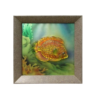 Liuli Glass 3D Under Water Tropical Fish Pattern Framed Wall Decor For Sale