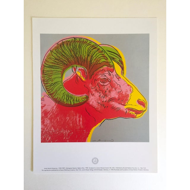 "Andy Warhol Andy Warhol Estate Rare Vintage 1992 Endangered Species Collector's Lithograph Print "" Bighorn Ram "" 1983 For Sale - Image 4 of 9"