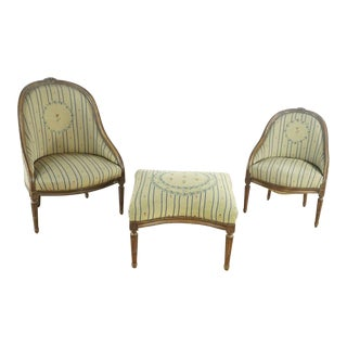 18th Century Vintage French Provincial Barrel Back Chairs & Ottoman For Sale