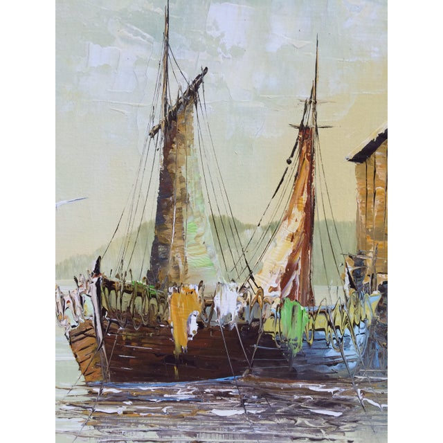 'Ship at the Dock' Mid-Century Oil Painting - Image 6 of 8