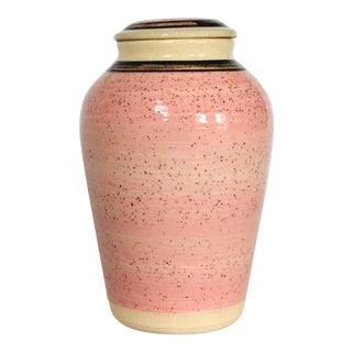 Pink Lidded Pottery Ginger Jar For Sale