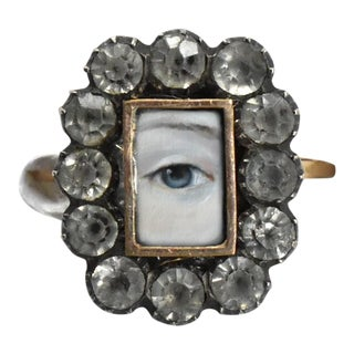 Georgian Lover's Eye Diamond Paste Locket Ring With Custom Painting For Sale
