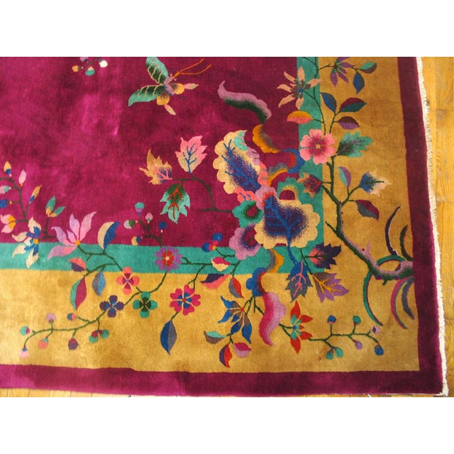 """Asian 1920s Chinese Art Deco Rug - 9'x11'8"""" For Sale - Image 3 of 9"""