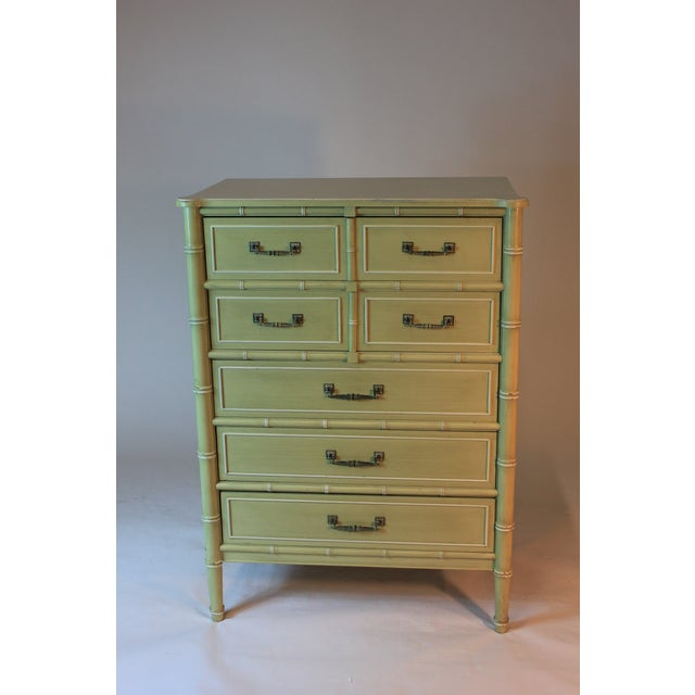 Vintage Faux Bamboo Tall Dresser - Image 2 of 3