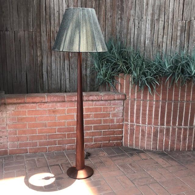 Cinnamon Vintage Danish Modern Teak Floor Lamp With Period Black String Shade For Sale - Image 8 of 13