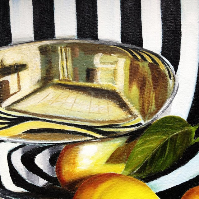 "Abstract Kathi Blinn ""Tipsy Stripes"" Black and White Contemporary Still-Life Painting For Sale - Image 3 of 3"