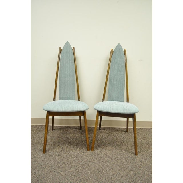 Set of 4 Vintage Mid Century Modern Sculptural Walnut Dining Chairs Danish Style For Sale - Image 4 of 11