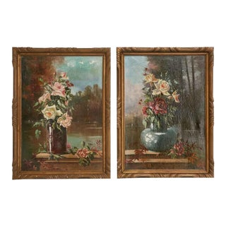 Pair Vintage French Oil on Canvas Paintings For Sale