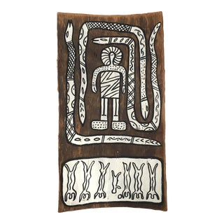 Vintage Aboriginal Bark Painting, Dogs of Bahloo For Sale