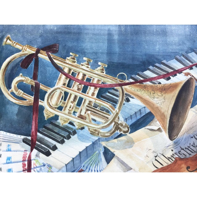 Vintage 1950's Watercolor Painting MusicViolin Trumpet Keyboards - Image 6 of 9
