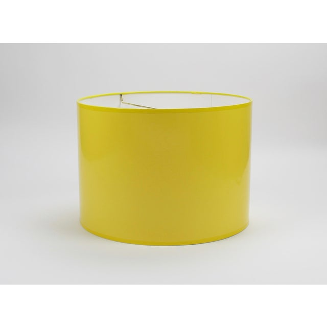 Lampshade Designs High Gloss Yellow Drum Lamp Shade For Sale - Image 4 of 7