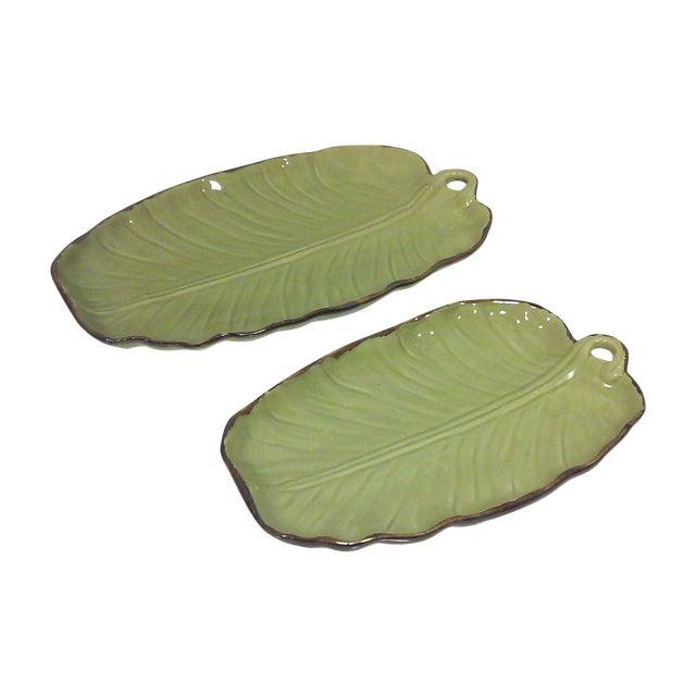 Tropical Banana Leaf Ceramic Platters - A Pair - Image 1 of 5