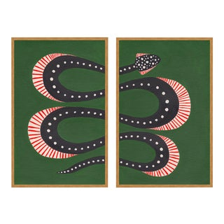 Zucchini the Snake Diptych by Willa Heart in Gold Framed Paper, Small Art Print For Sale