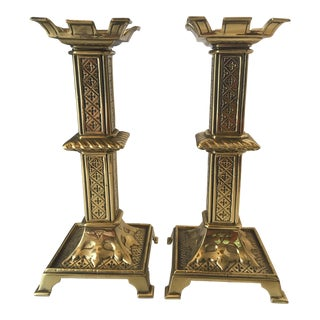 1960s Traditional Moroccan Brass Candleholders - a Pair