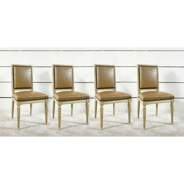 Wood Square Back Louis XVI Dining Chairs Covered in a Tan Leather - Set of 4 For Sale - Image 7 of 11
