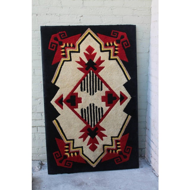 Native American 1930s Mounted Geometric Hand-Hooked Rug For Sale - Image 3 of 7
