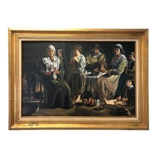 Vintage Rodriguez, Family Scene, Oil on Canvas For Sale