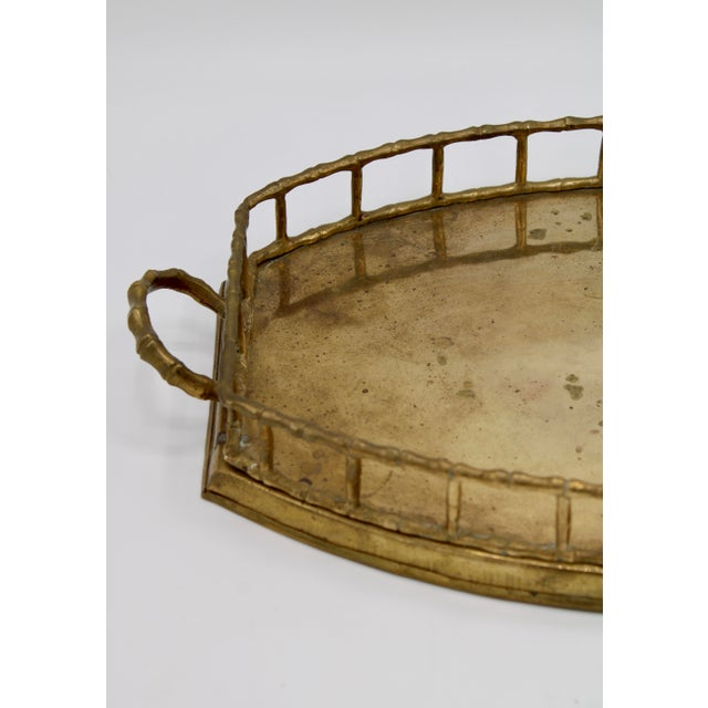 Mottahedeh Mid 20th Century Brass Bamboo Tray For Sale - Image 4 of 8
